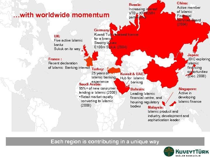 …with worldwide momentum UK: Five active Islamic banks Sukuk on its way Russia: Increasing