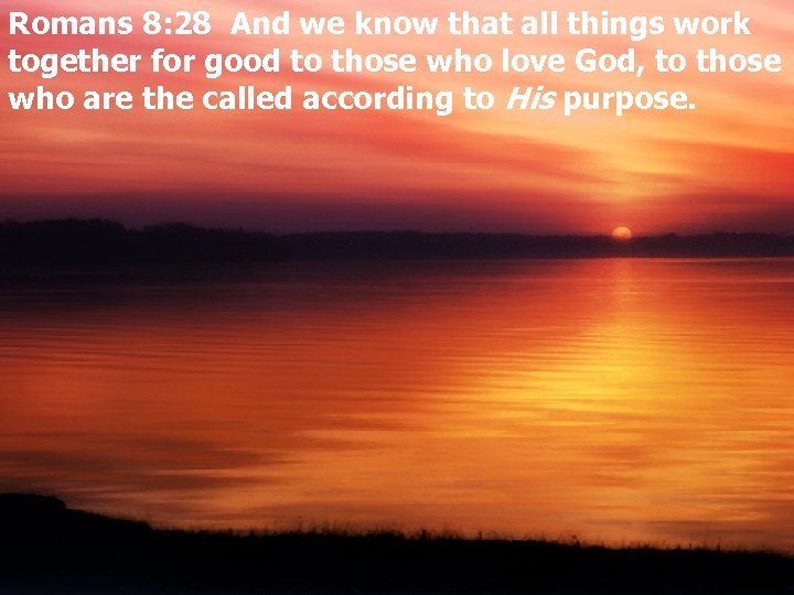 Romans 8: 28 And we know that all things work together for good to