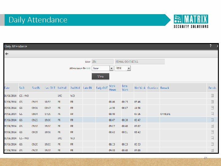 Daily Attendance 41