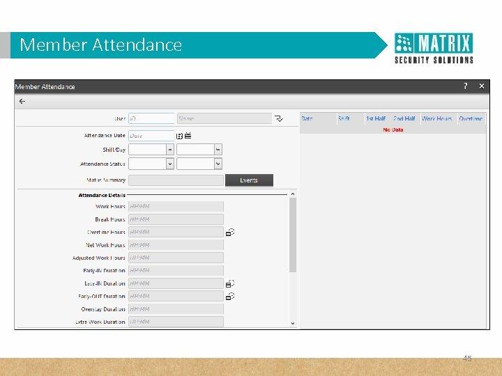 Member Attendance 45
