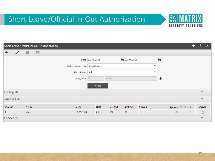 Short Leave/Official In-Out Authorization 57