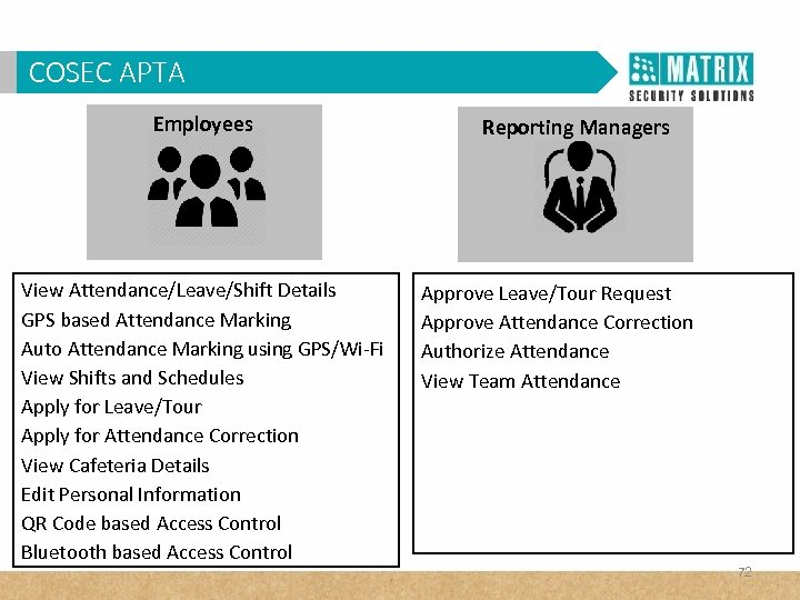 COSECVAM in Corporates? WHY APTA Employees View Attendance/Leave/Shift Details GPS based Attendance Marking Auto