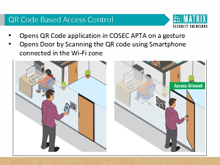 QR Code Based Access Control • • Opens QR Code application in COSEC APTA