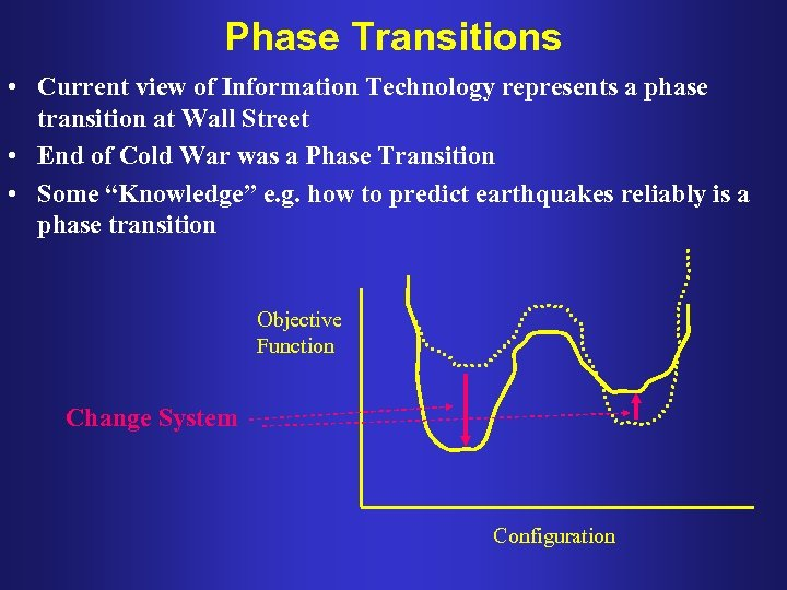 Phase Transitions • Current view of Information Technology represents a phase transition at Wall