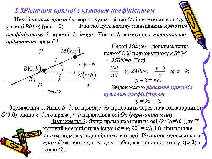 1. 5 Рівняння прямої з кутовим коефіцієнтом Нехай похила пряма l утворює кут α