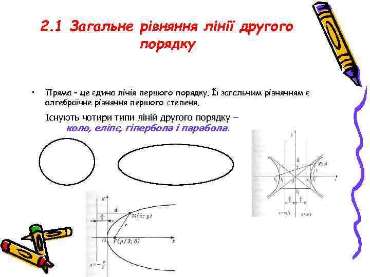 2. 1 Загальне рівняння лінії другого порядку • Пряма – це єдина лінія першого
