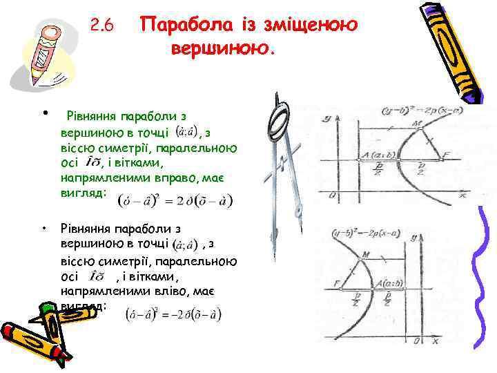 2. 6 • • Парабола із зміщеною вершиною. Рівняння параболи з вершиною в точці