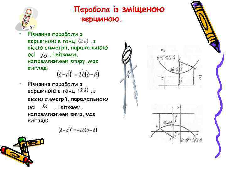 Парабола із зміщеною вершиною. • Рівняння параболи з вершиною в точці , з віссю