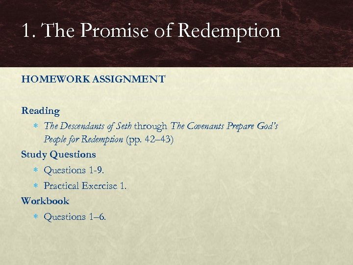 1. The Promise of Redemption HOMEWORK ASSIGNMENT Reading The Descendants of Seth through The