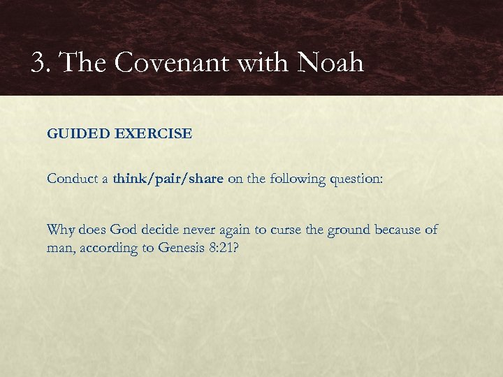 3. The Covenant with Noah GUIDED EXERCISE Conduct a think/pair/share on the following question: