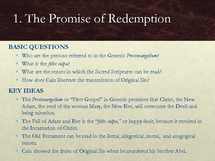 1. The Promise of Redemption BASIC QUESTIONS Who are the persons referred to in