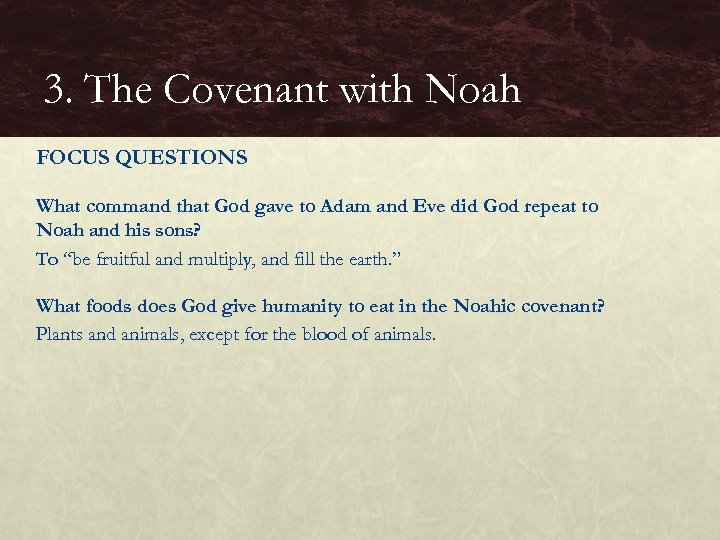 3. The Covenant with Noah FOCUS QUESTIONS What command that God gave to Adam