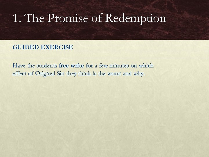 1. The Promise of Redemption GUIDED EXERCISE Have the students free write for a