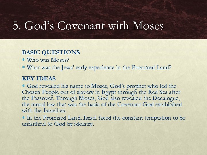 5. God's Covenant with Moses BASIC QUESTIONS Who was Moses? What was the Jews'