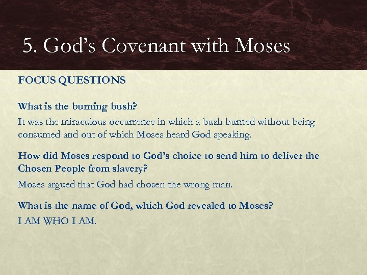 5. God's Covenant with Moses FOCUS QUESTIONS What is the burning bush? It was