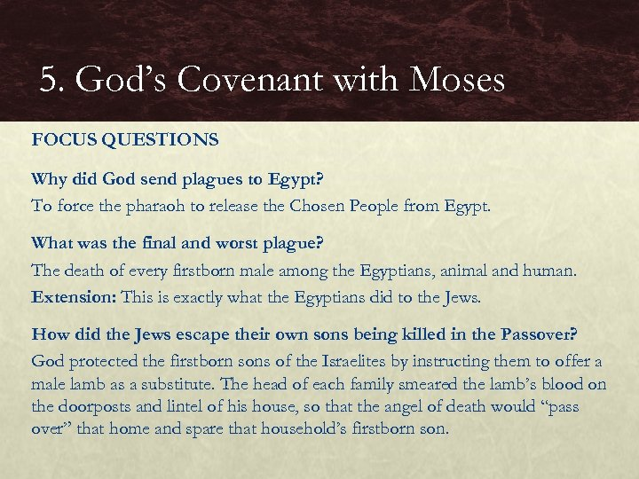 5. God's Covenant with Moses FOCUS QUESTIONS Why did God send plagues to Egypt?