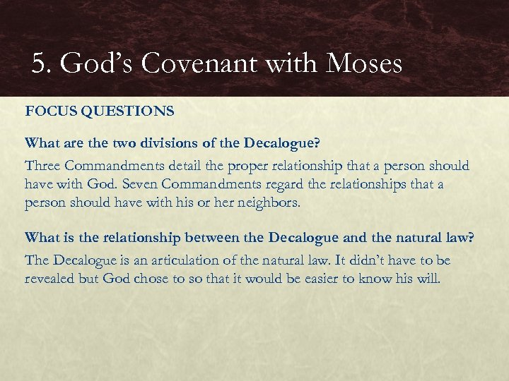 5. God's Covenant with Moses FOCUS QUESTIONS What are the two divisions of the