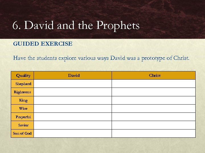6. David and the Prophets GUIDED EXERCISE Have the students explore various ways David