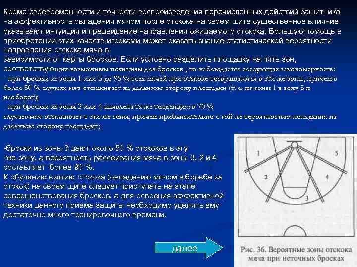 Кроме своевременности и точности воспроизведения перечисленных действий защитника на эффективность овладения мячом после отскока