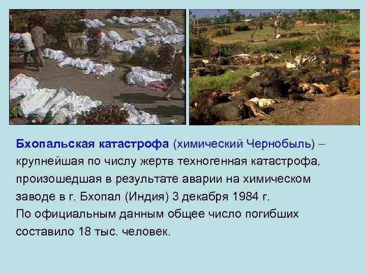 Бхопальская катастрофа (химический Чернобыль) крупнейшая по числу жертв техногенная катастрофа, произошедшая в результате аварии
