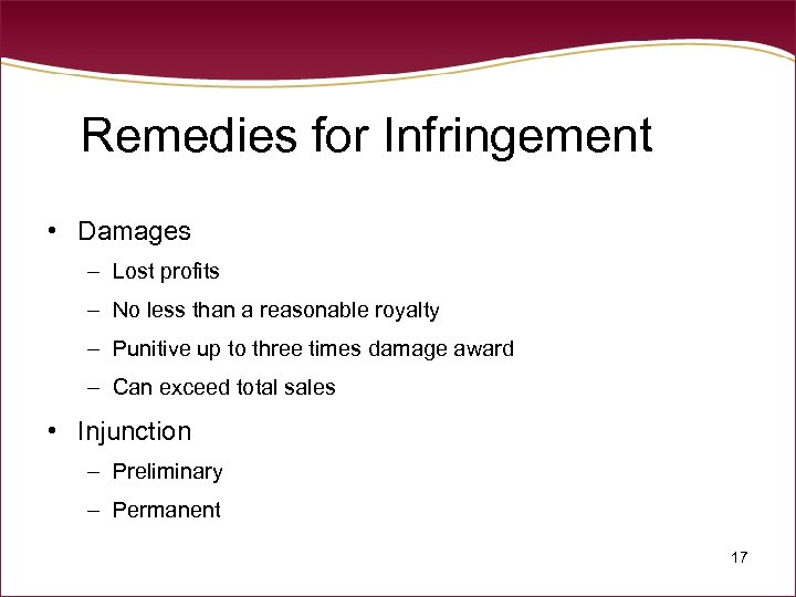 Remedies for Infringement • Damages – Lost profits – No less than a reasonable