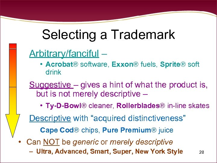 Selecting a Trademark Arbitrary/fanciful – • Acrobat® software, Exxon® fuels, Sprite® soft drink Suggestive