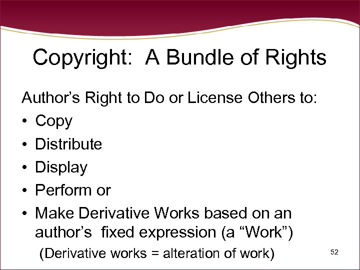 Copyright: A Bundle of Rights Author's Right to Do or License Others to: •