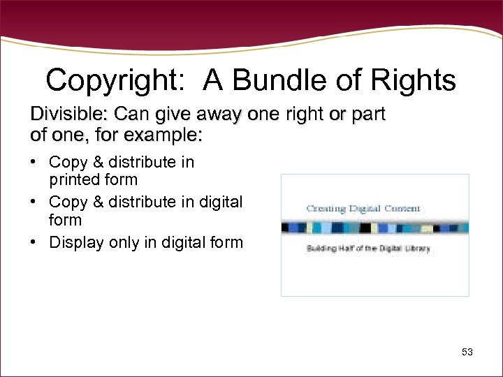 Copyright: A Bundle of Rights Divisible: Can give away one right or part of