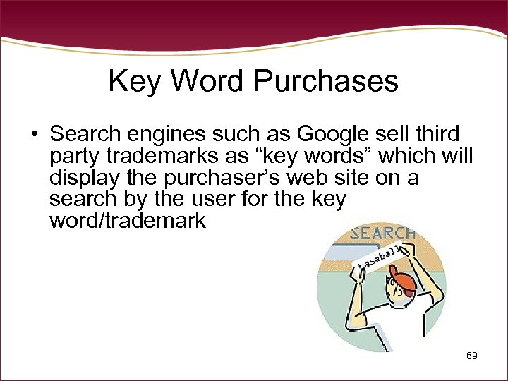 Key Word Purchases • Search engines such as Google sell third party trademarks as