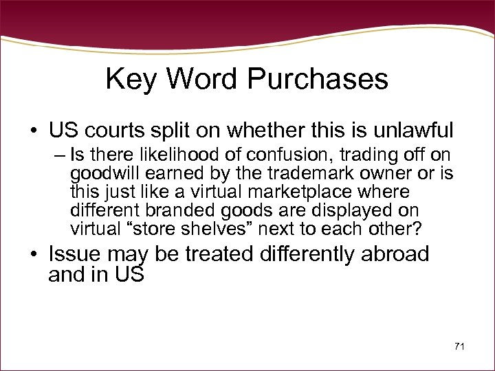 Key Word Purchases • US courts split on whether this is unlawful – Is