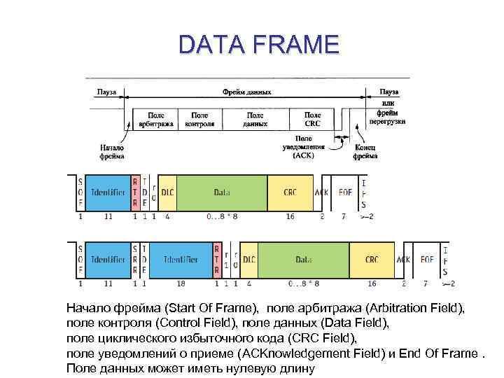 DATA FRAME Начало фрейма (Start Of Frame), поле арбитража (Arbitration Field), поле контроля (Control
