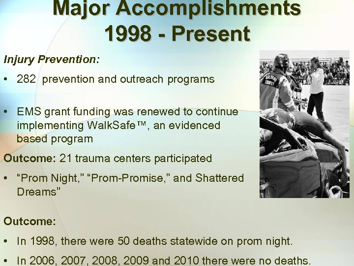 Major Accomplishments 1998 - Present Injury Prevention: • 282 prevention and outreach programs •