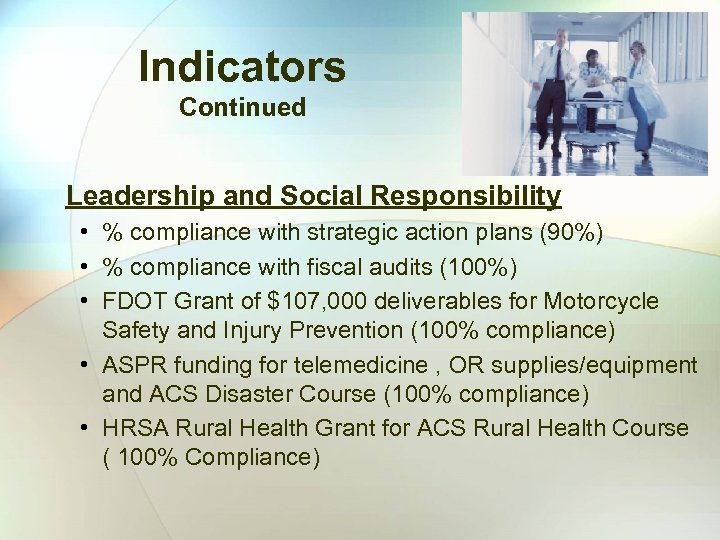 Indicators Continued Leadership and Social Responsibility • % compliance with strategic action plans (90%)
