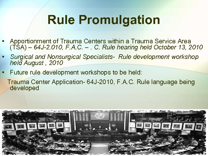 Rule Promulgation • Apportionment of Trauma Centers within a Trauma Service Area (TSA) –