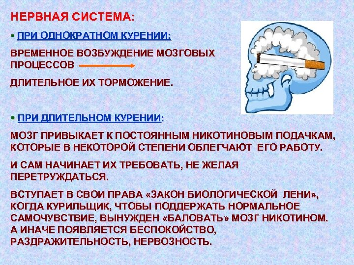 НЕРВНАЯ СИСТЕМА: § ПРИ ОДНОКРАТНОМ КУРЕНИИ: ВРЕМЕННОЕ ВОЗБУЖДЕНИЕ МОЗГОВЫХ ПРОЦЕССОВ ДЛИТЕЛЬНОЕ ИХ ТОРМОЖЕНИЕ. §