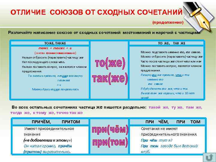 ОТЛИЧИЕ СОЮЗОВ ОТ СХОДНЫХ СОЧЕТАНИЙ (продолжение) Различайте написание союзов от сходных сочетаний местоимений и