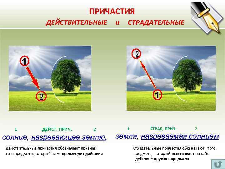 ПРИЧАСТИЯ ДЕЙСТВИТЕЛЬНЫЕ и СТРАДАТЕЛЬНЫЕ 1 ДЕЙСТ. ПРИЧ. 2 солнце, нагревающее землю, 1 СТРАД.