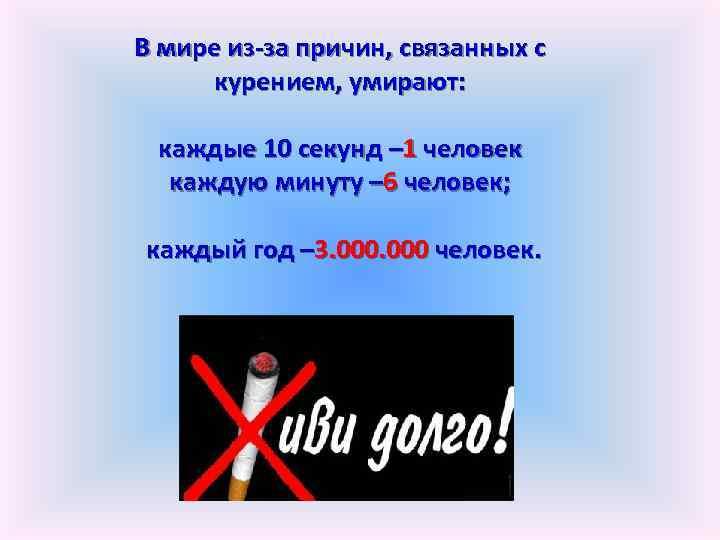 В мире из-за причин, связанных с курением, умирают: каждые 10 секунд – 1 человек