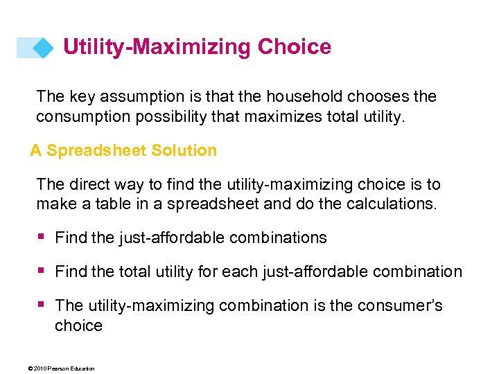 Utility-Maximizing Choice The key assumption is that the household chooses the consumption possibility that