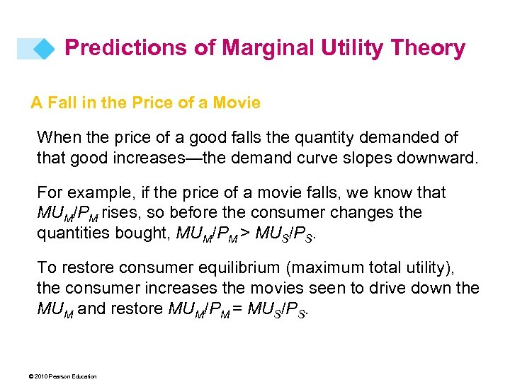 Predictions of Marginal Utility Theory A Fall in the Price of a Movie When