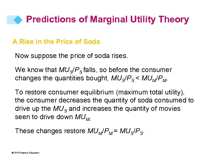 Predictions of Marginal Utility Theory A Rise in the Price of Soda Now suppose