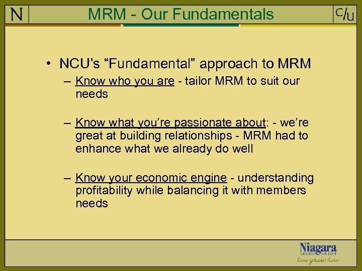 "MRM - Our Fundamentals • NCU's ""Fundamental"" approach to MRM – Know who you"