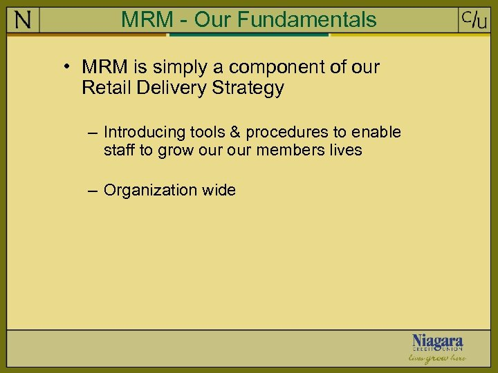 MRM - Our Fundamentals • MRM is simply a component of our Retail Delivery