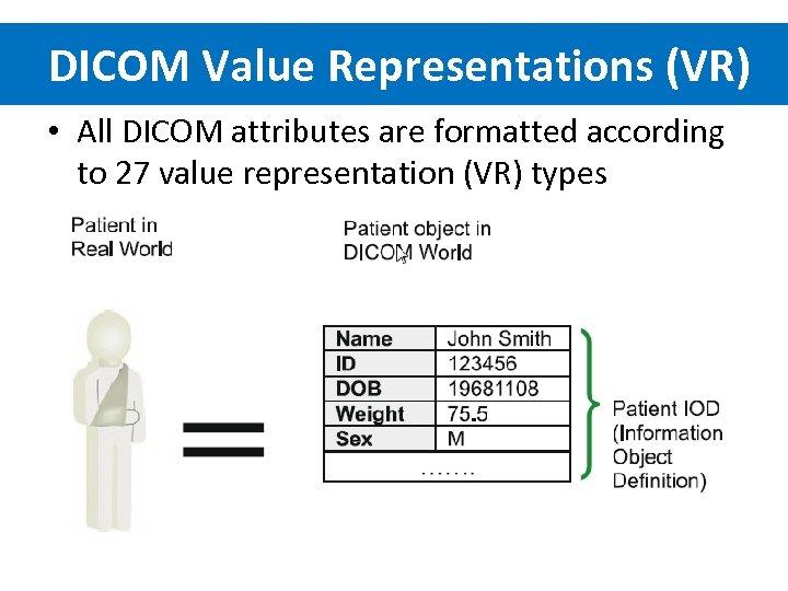 DICOM Value Representations (VR) • All DICOM attributes are formatted according to 27 value