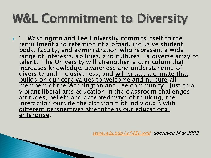 W&L Commitment to Diversity
