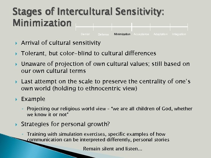 Stages of Intercultural Sensitivity: Minimization Denial Defense Minimization Acceptance Adaptation Arrival of cultural sensitivity