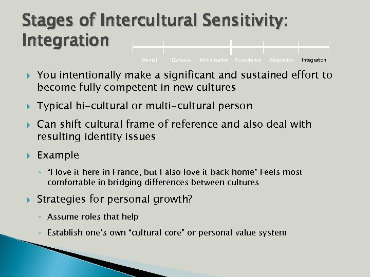 Stages of Intercultural Sensitivity: Integration Denial Defense Minimization Acceptance Adaptation Integration You intentionally make