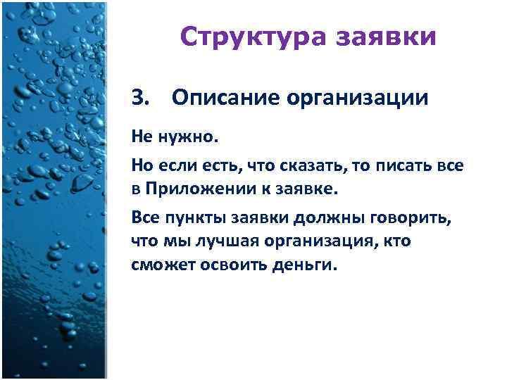 Структура заявки 3. Описание организации Не нужно. Но если есть, что сказать, то писать