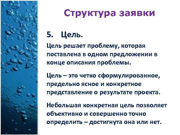 Структура заявки 5. Цель решает проблему, которая поставлена в одном предложении в конце описания