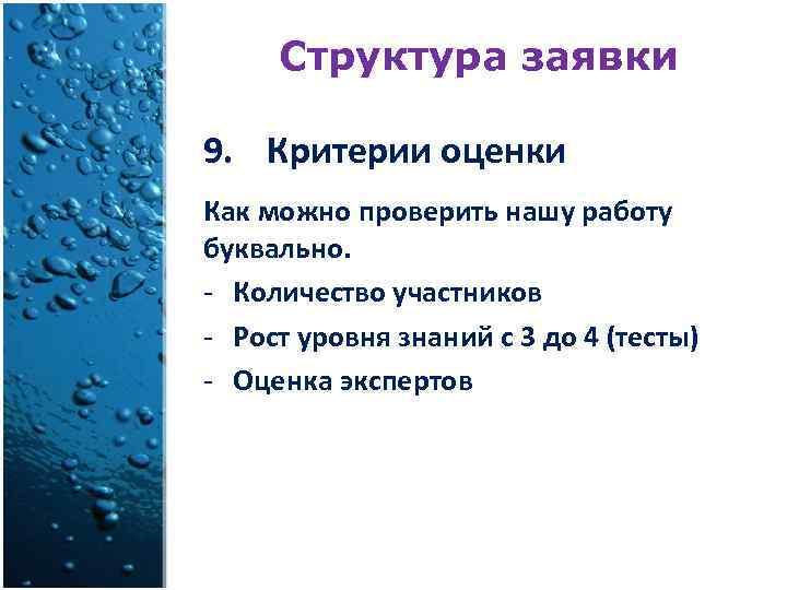Структура заявки 9. Критерии оценки Как можно проверить нашу работу буквально. - Количество участников
